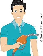 Gasoline Man - Illustration of a Man Holding a Gasoline Pump...