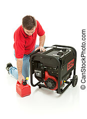 Gasoline Powered Generator - Man preparing to fill his ...