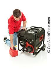 Gasoline Powered Generator - Man preparing to fill his...