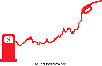 Gasoline price growth graph. Vector illustration