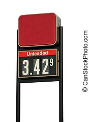 Gasoline Price Sign - Gasoline price sign showing the cost...