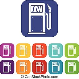 Gasoline pump icons set