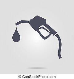 Gasoline pump nozzle. - Gasoline pump nozzle sign.Gas...