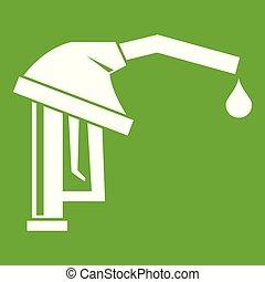 Gasoline pump nozzle icon green