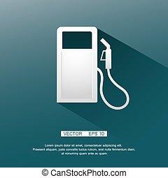 Gasoline pump nozzle sign.Gas station icon. Flat design...
