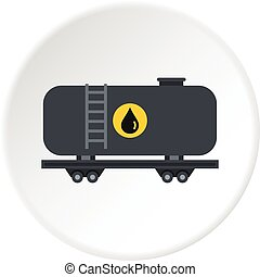 Gasoline railroad tanker icon circle