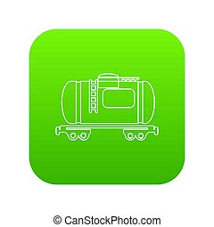 Gasoline railroad tanker icon green