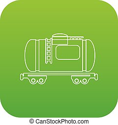 Gasoline railroad tanker icon green vector