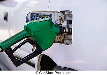 Gasoline refill - Close up scene of gasoline car refilling
