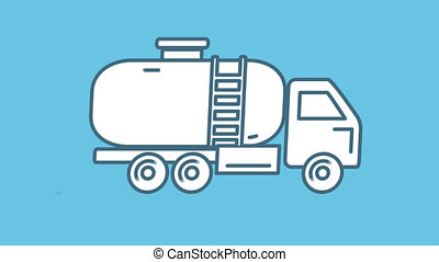 Gasoline Tank Truck line icon is one of the Truck and Commercial Transport icon set. File contains alpha channel. From 2 to 6 seconds - loop.