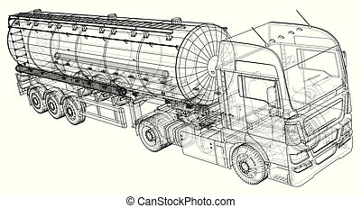 Gasoline tanker, Oil trailer, truck on highway. Very fast driving. Created illustration of 3d. Wire-frame