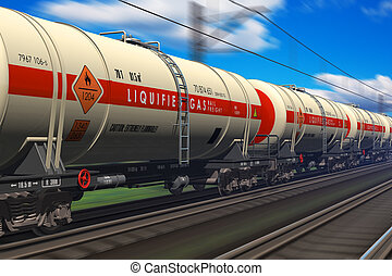 Gasoline tanker railroad car - Freight train with gasoline...