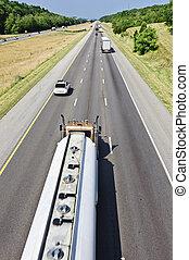 Gasoline Tanker Truck On Interstate Highway.