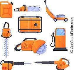 Gasoline tools icons set, cartoon style