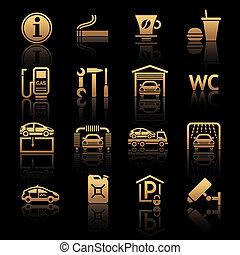 gasolinera, conjunto, pictograms.