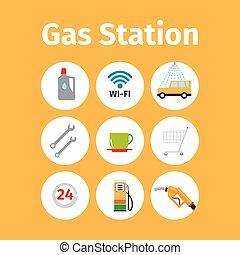 gasolinera, iconos, en, círculo, conjunto