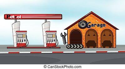 gasolinera, y, garaje