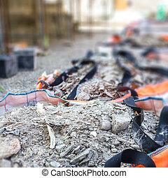 gaspillage, construction, débris, entiers, sacs