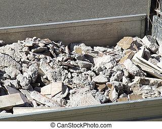 gaspillage, débris, démolition