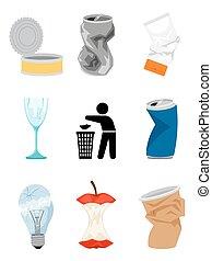 gaspillage, déchets, éléments