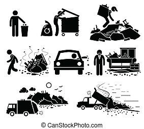 gaspillage, déchets, déchets déchargent, site