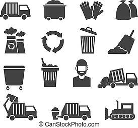 gaspillage, déchets, icônes, vecteur, recycler, déchets ménagers