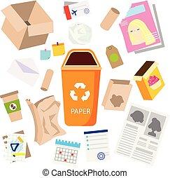 gaspillage, garbage., sorting., icons., boîtes, papier, journal, déchets ménagers, autre