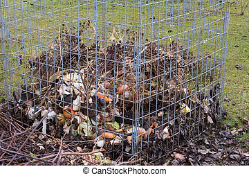 gaspillage, grille, composter
