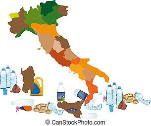 gaspillage, italie, urgence, plastique