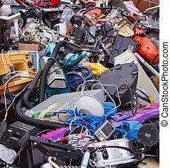 gaspillage, matériel, appareil électrique