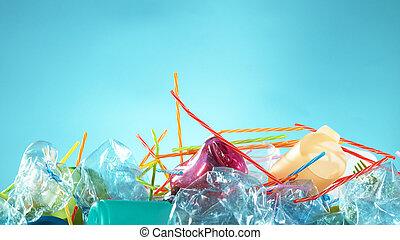 gaspillage, plastique, vide, tas