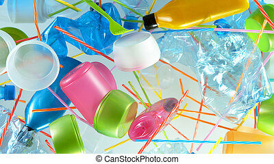 gaspillage, plastique, voler, tas, vide