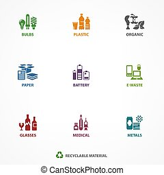 gaspillage, recyclage, déchets, icônes