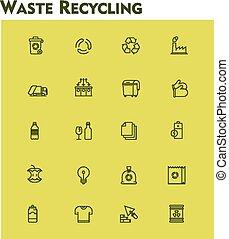 gaspillage, recyclage, ensemble, linéaire, icône