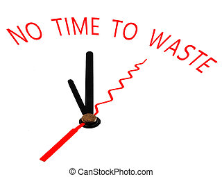gaspillage, temps, non, horloge, concept