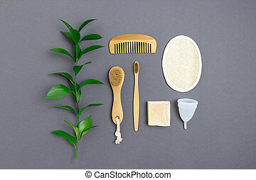 gaspillage, zéro, accessoires, personnel, gris sombre, arrière-plan., hygiene., disposition