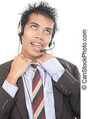 Gasping telemarketer loosening collar