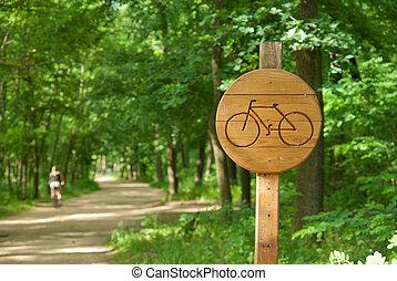 gasse, fahrrad, hölzern, strecke, zeichen, fahrrad, zeigen