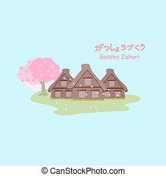 Gassho zukuri with cherry blossom