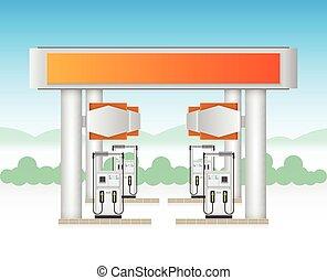 Gasstation - Illustration of gas station service with blue...