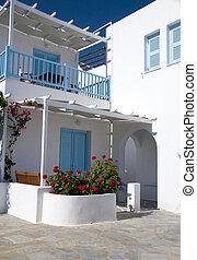 gast, cyclades, woning, motel, hotel, grieks architectuur