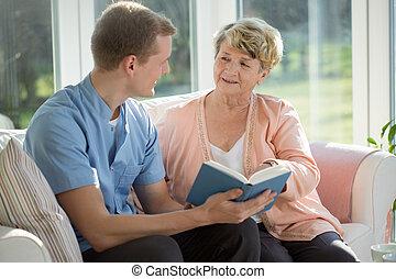 gastando, ancião, enfermeira, tempo