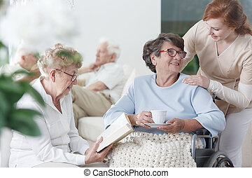 gastando, ancião, senhoras, tempo