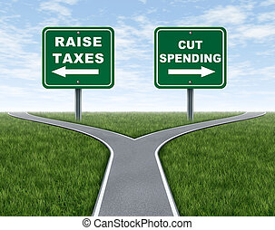 gastando, corte, levantamento, impostos, ou