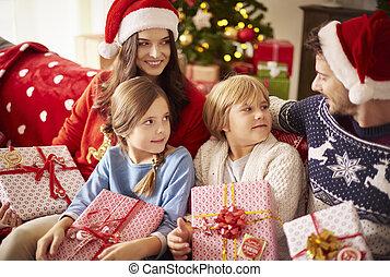 gastando, lar, junto, natal familiar