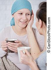 gastando, mulher, amigo, câncer, tempo