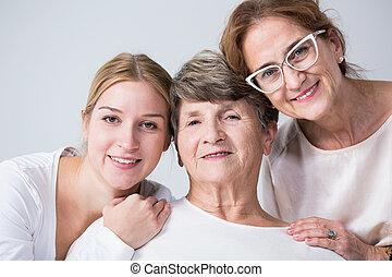 gastando, multigenerational, família, junto, tempo