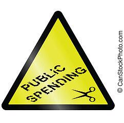 gastando, público, cortes
