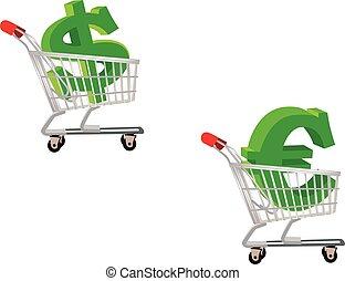 gastando, shopping, dólar, euro