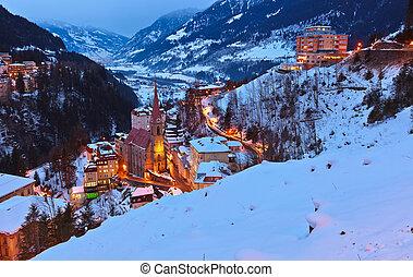 gastein, montanhas, mau, recurso, áustria, esqui